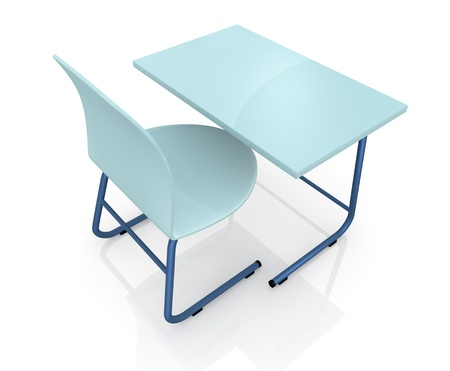 study table: top view of a school desk with a chair on white background (3d render)