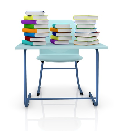 research paper: front view of a school desk with stacks of colored books over it (3d render)