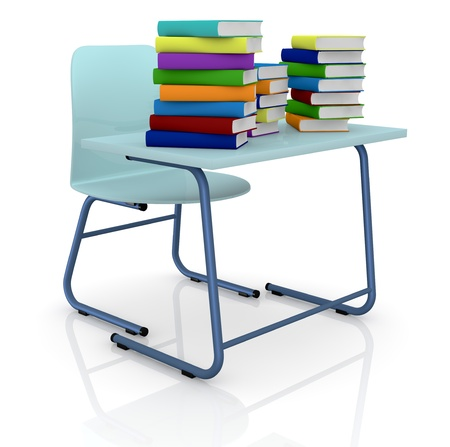 one school desk with stacks of colored books over it (3d render) photo