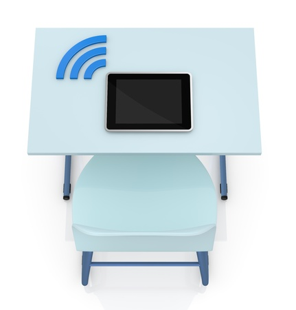 study icon: top view of a school desk with a tablet and the wireless symbol (3d render)
