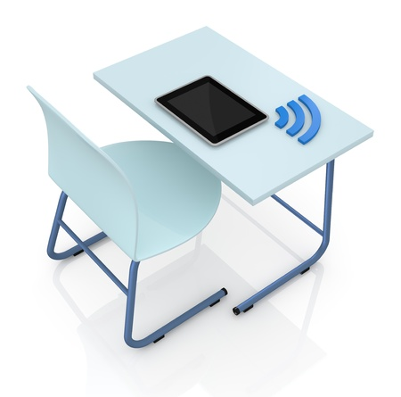 top view of a school desk with a tablet and the wireless symbol (3d render) photo