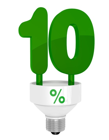 rebate: one energy saving light bulb with the number ten instead of the pipe (3d render)
