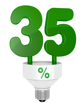 thirty five: one energy saving light bulb with the number thirty five instead of the pipe (3d render)