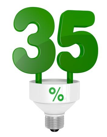thirty five: uno lampadina a risparmio energetico con il numero 35 al posto del tubo (render 3d)