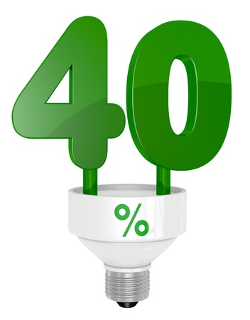 instead: one energy saving light bulb with the number forty instead of the pipe (3d render) Stock Photo