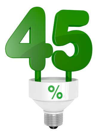 40: one energy saving light bulb with the number forty five instead of the pipe (3d render)