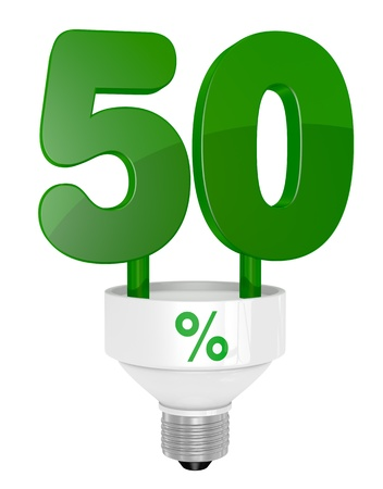 instead: one energy saving light bulb with the number fifty instead of the pipe (3d render) Stock Photo