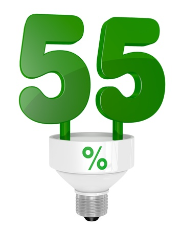 one energy saving light bulb with the number fifty five instead of the pipe (3d render) photo