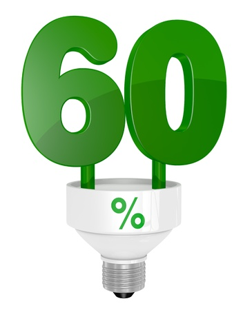 one energy saving light bulb with the number sixty instead of the pipe (3d render) photo