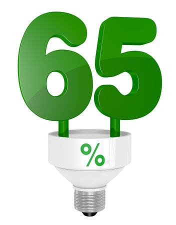one energy saving light bulb with the number sixty five instead of the pipe (3d render) photo