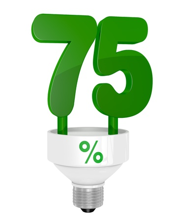 instead: one energy saving light bulb with the number seventy five instead of the pipe (3d render) Stock Photo