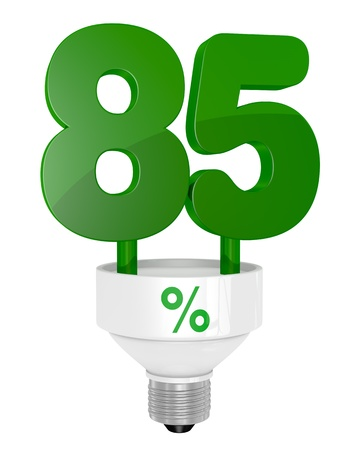 instead: one energy saving light bulb with the number eighty five instead of the pipe (3d render) Stock Photo