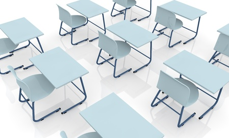 closeup of many school desks (3d render) photo