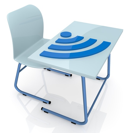 one school desk with a big wireless symbol over it, concept of online learning (3d render) photo