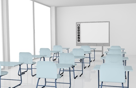 whiteboard: classroom with school desks and interactive whiteboard (3d render)