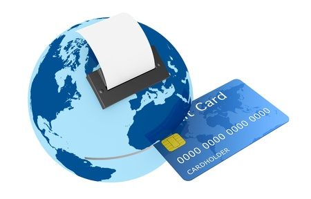 card reader: one credit card reader made with a world globe, concept of shopping everywhere (3d render)