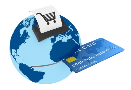 internet banking: one credit card reader made with a world globe, concept of shopping everywhere (3d render)