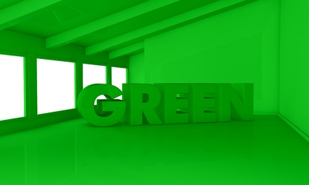 home value: one empty room with the word: green on the floor. all in green color (3d render)