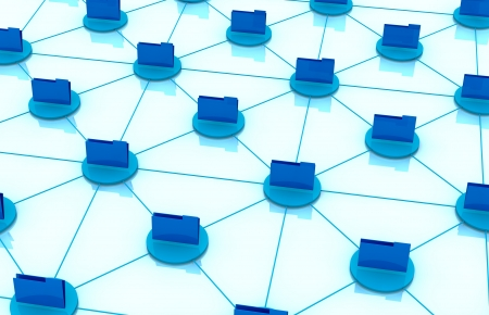 top view of computer folder icons connected each other; concept of network and of data exchange (3d render) Stock Photo - 13727517