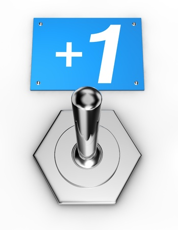 closeup of a toggle chrome switch and a plate with the +1 symbol of social networks (3d render) photo