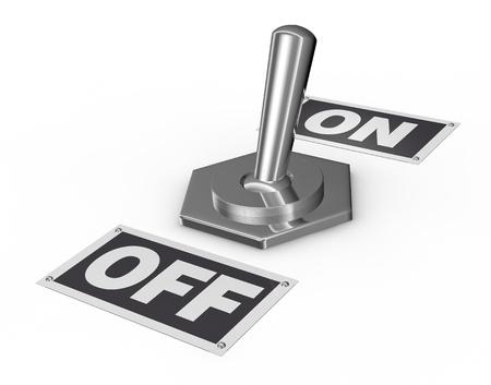 palanca: un interruptor de palanca cromada volc� en la posici�n de encendido (3d)