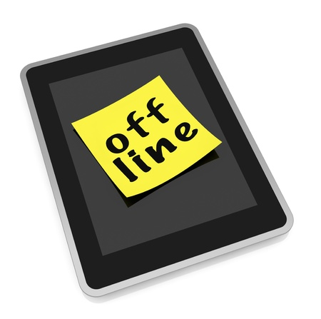 offline: one tablet pc and a sticky note with text: offline (3d render)