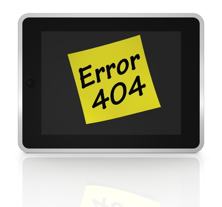 one tablet pc with a sticky note and text: error 404 (3d render) photo