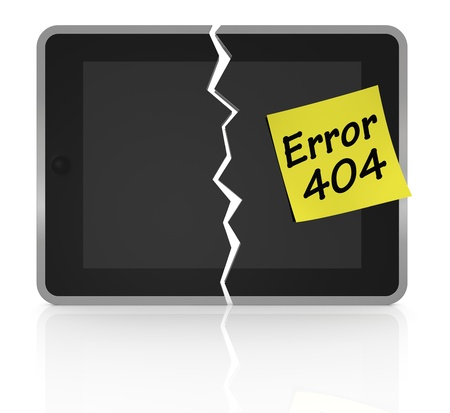 one tablet pc cracked with a sticky note and text: error 404 (3d render) photo