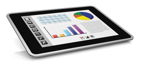 online trading: one tablet pc with a buttons interface, that shows a spreadsheet and charts (3d render)