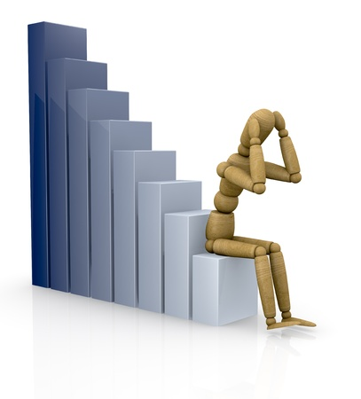 stock market crash: one business graph with a dummy sitting on it (3d render)