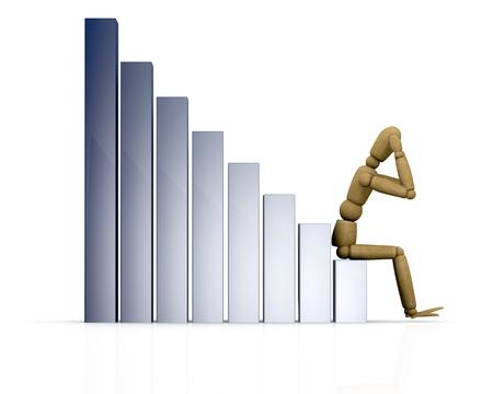 crisis economica: un gráfico de negocio con un maniquí sentado en él (3d) Foto de archivo