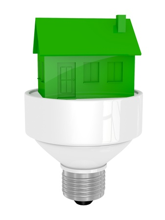 electric green: one light bulb with a toy house green (3d render) Stock Photo