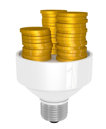 one light bulb with stacks of coins (3d render) photo