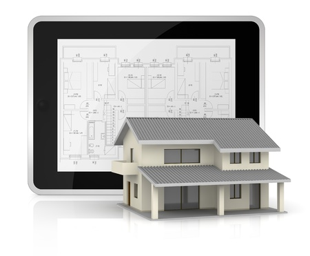 nobody real: one tablet pc with a blueprint on the screen and a beautiful house in front of it (3d render)