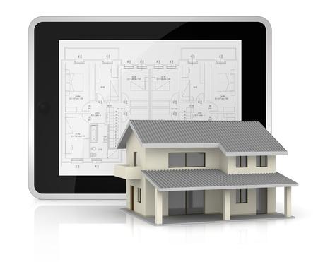 arquitecto: un Tablet PC con un modelo en la pantalla y una hermosa casa en frente de él (3d)