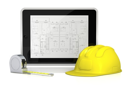 one tablet pc with a blueprint on the screen, a construction helmet and a tape measure (3d render) Stock Photo - 13727457