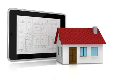 one tablet pc with a blueprint on the screen and a small house near it (3d render) Stock Photo - 13727484