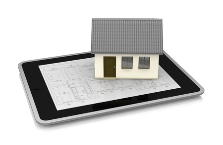 one tablet pc with a blueprint on the screen and a small house above it (3d render) photo