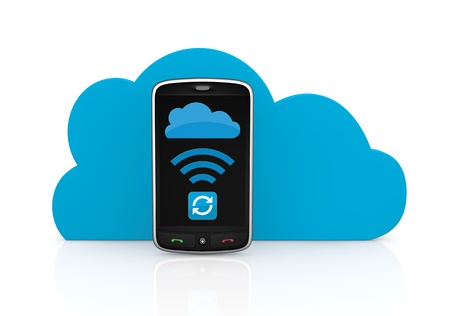 storage device: one smartphone with the screen showing a synchronizing data app, and a cloud in background; concept of cloud computing (3d render)