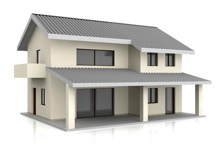 een mooi huis met twee verdiepingen (3d render) Stockfoto