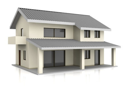 one beautiful house with two floors (3d render) photo