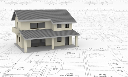 models: one house over a blueprint (3d render) Stock Photo