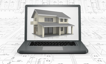 one computer with a house on the screen above a blueprint (3d render) photo