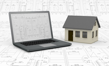 one computer with a blueprint on the screen and a house; the background is a blueprint (3d render) photo