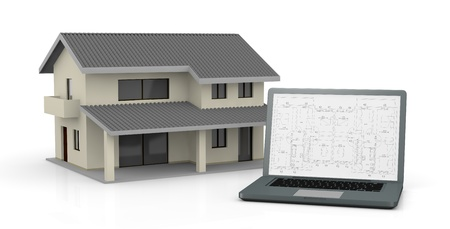 one computer with a blueprint on the screen and a house (3d render) photo