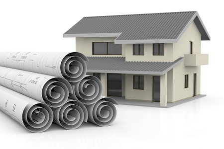 rolled up blueprints with a house near them (3d render) Stock Photo - 13727531
