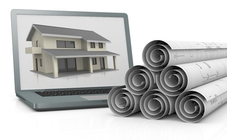 rolled up: rolled up blueprints and a computer with a house on the screen (3d render) Stock Photo