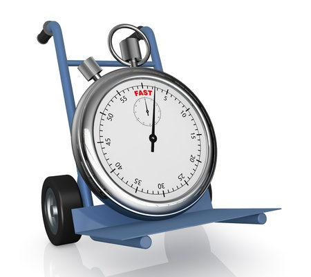 delivery service: closeup of a hand truck (trolley) with a stopwatch on it  (3d render)