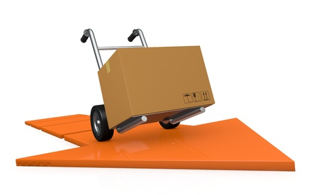 one hand truck (trolley) with a carton box over an arrow (3d render) photo