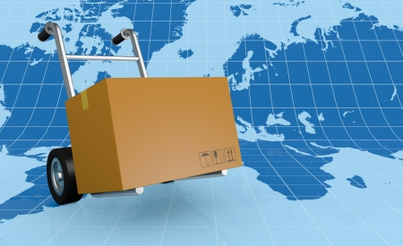 one hand truck (trolley) with a world map on background (3d render) photo
